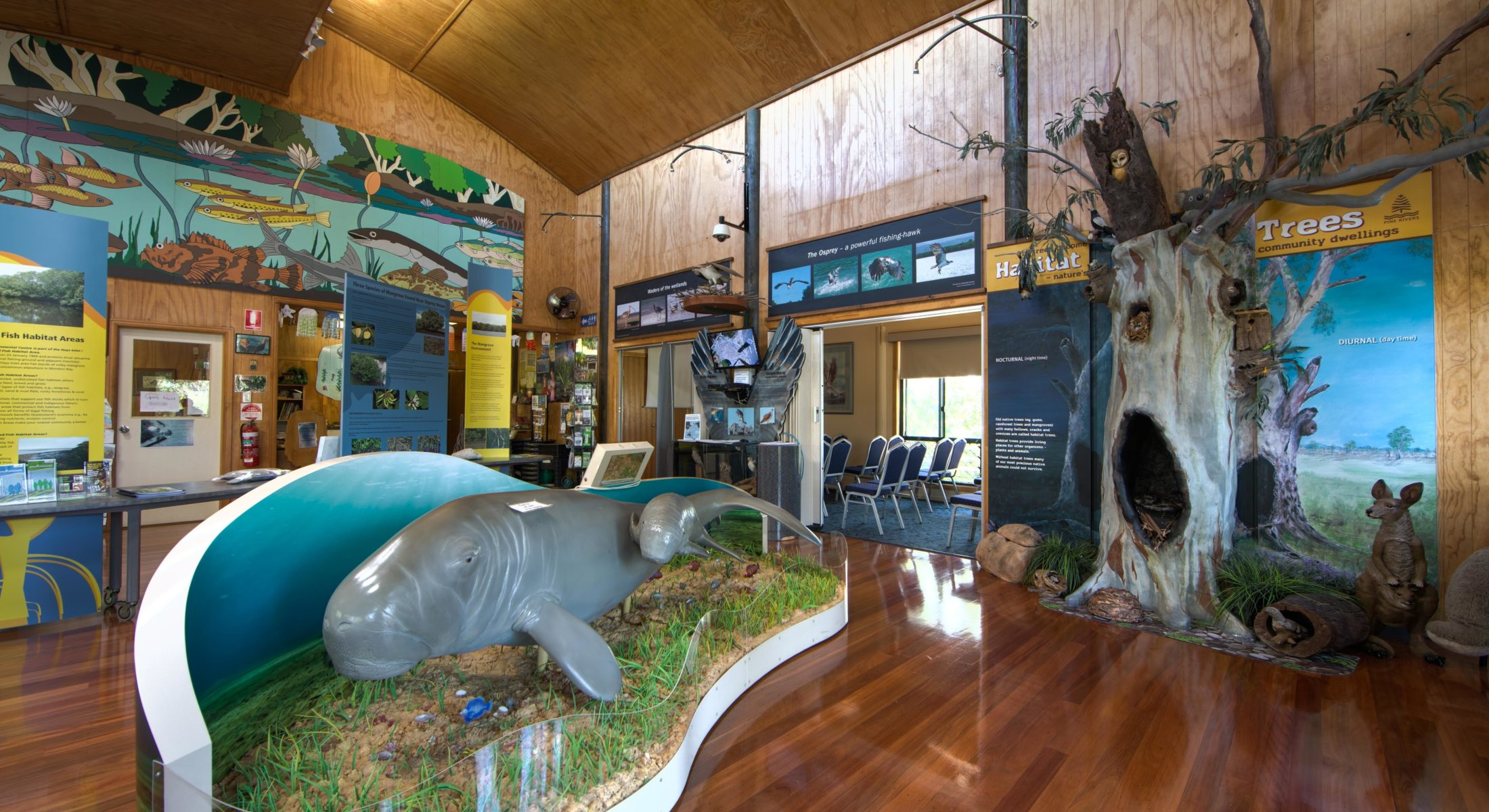 Explore the educational information at Osprey House, the volunteers can tell you all about the local osprey and dugong population